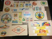 Lot, 35 Tags Antique Of Cheese Camembert Teams Vintage