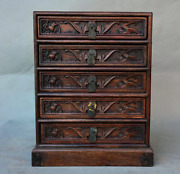 11.6 Old Chinese Dynasty Huanghuali Wood Bat Peach 5 Drawer Chests Of Drawers