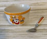 Kellogg's Tony The Tiger Frosted Flakes Glass Ceramic Bowl And Spoon Set 2002