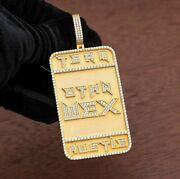14k Yellow Gold Plated Men's Personalized Name Custom Dog Tag Pendant 925 Silver