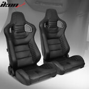 Universal Pair Reclinable Racing Seats + Dual Slider Black Puandcarbon Leather