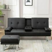 Air Leather 2 Seater Luxury Sofa Bed With Drink Cup Holder Folding Futon Couch