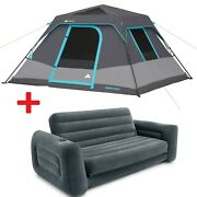 6 Person Dark Rest Cabin Tent 10 X 9 Portable Instant Shelter W/ Inflatable Bed