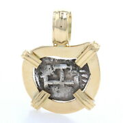 Yellow Gold And Silver Authentic Shipwreck Coin Pendant - 18k Frame Currency