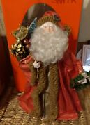 Vintage Paper Mache Santa Tree Topper Old World 13 Father Christmas Brown Fur