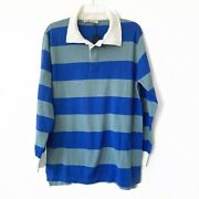 Carmar Blue Rugby Striped Oversized Shirt Dress Top Tunic Womens Small Polo