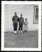 Antique Photograph Two Boy Scouts And Brownie Girl Scout By House - Saddle Shoes