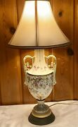 Floral Hand Painted Porcelain Lamp Brass Base With Shade Vintage Artist Signed