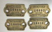 4 Vintage Dog License Brass Tags Dauphin County Pa Harrisburg Area 1968