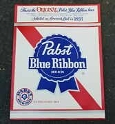 Lot 100 Original 1970and039s Pabst Blue Ribbon Pbr Beer Sign Bar Poster Large 17 X 22