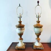 Vintage Lamp Onyx Agate Marble Stone Pair Neoclassical 18andrdquo Solid