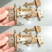 8 Small Hinges Vintage Old Age Style Solid Brass Door Box Restoration Heavy 5 B