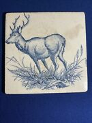 Antique Josiah Wedgwood And Sons Etruria Blue And White Tile Buck Deer