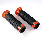 Tire Pattern Handlebars Hand Grips Black And Orange Fits Custom Motorcycle Scooter