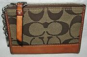 Coach Signature Brown Leather Skinny Mini Id Holder Coin Purse Wallet Keychain