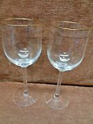 Lenox Liberty 2 Water Goblets Cut With Gold Trim