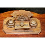 Antique Vintage Oak Wood Desk Stand Inkwell And Ink Blotter Art Decorated 1900s