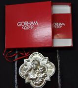 Gorham Sterling Silver Madonna And Child Christmas Ornament With Box And Pouch