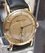 Vintage Genuine '56 Jaeger Lecoultre Solid 18k Mid Size Gold Dial Watch Serviced