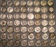 Lot Of 500 Barber Mercury Roosevelt Silver Dimes With Wide Range Dates Mintmarks