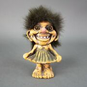 Nyform Norway Girl With Green Dress Troll Doll Figurine Long Nose Vintage