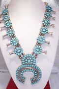 Larry Moses Begay Sterling Silver Squash Blossom Turquoise Navajo Beads Necklace