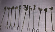 11 Taxco Mexican Sterling Silver Cocktail Garnish Fork Pickle Martini Olive Pik