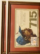 Hank Aaron Autographed 8x10 Framed 715 Certificate And Ticket Stub