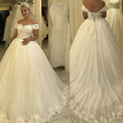 Wedding Dresses Off Shoulder Sweetheart Lace Flower Appliques Beaded Bridal Gown