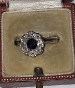 Antique 18ct And Plat Diamond And Sapphire Daisy Cluster Ring