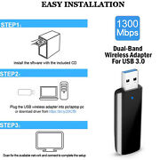 Dual Band 1300mbps Usb 3.0 Wireless Ac Network Card Wifi Adapter For Pc Laptop