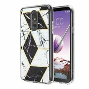 For Lg Stylo 5 Black White Marble Hard Tpu Rubber Hybrid Electroplated Case