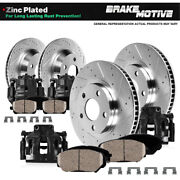 Front And Rear Black Calipers And Rotors And Pads For 2004 - 2008 Acura Tl
