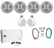 4 Rockville Rmsts80s 8 2000w Marine Boat Speakers+2 Wakeboards+amp+wire Kit