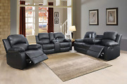 New Black Leather 3pc Sofa Loveseat Chair 5-recliner Set 4 Cupholders 2 Console