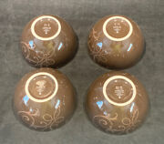 Set Of 4 Target Holiday 08 Snowfall Splendor Brown Taupe Swirl Soup Cereal Bowls
