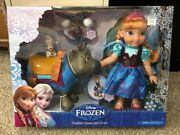Disney Frozen - 2 Figure Pack - Toddler Anna And Sven +olaf Doll - Rare Playset
