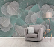 3d Gray Leaves Zhua7127 Wallpaper Wall Murals Removable Self-adhesive Zoe