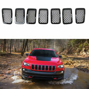 Mesh Grille Covers For 2019 2020 Jeep Cherokee Front Grill Trim Gloss Black 7pcs