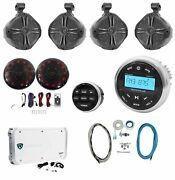 Rockville Marine Bluetooth Receiver+4 8 Wakeboards+2 Led Speakers+6-ch Amp