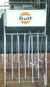 Vintage Original Gulf Oil Can Display Rack For Quart Cans - Very Good Condition