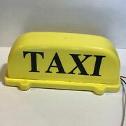 Vintage Yellow Plastic Taxi Light Sign - Works