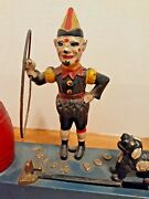 Authentic Antique 1920s Cast Iron Hubley, Trick Dog, Mechanical Bank Working.