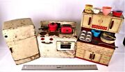 Barn Find Vintage 1950's Wolverine Tin Litho Red And White Kitchen Child Toy Set