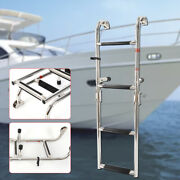 Stainless Steel Telescopic Folding Marine Boat Boarding Removable Ladder 2+2step