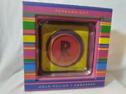Punch Studio Gold Foiled Embossed Initial Letter R Paperweight Thick Glass