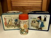 Vintage Holly Hobbie Metal Lunchboxes And Flat Top Thermos - Three Piece Lot