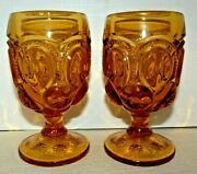 L.e. Smith Amber Glass Moon And Stars Goblets Set Of 2