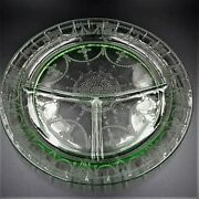 Anchor Hocking Cameo Ballerina Green Depression Glass Divided Grill Plate