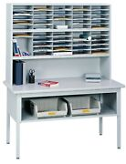 Office Mail Sorter With Metal Frame And Laminate Tabletop, Office Mailroom Station